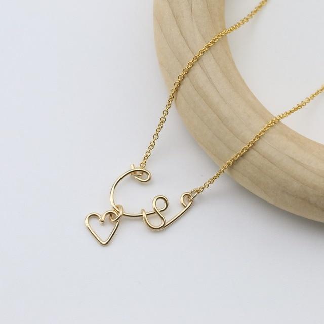 PINJEAS Heart Crown Custom Name Necklace Handmade Refinement Wire ...