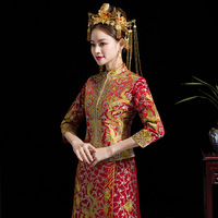 Bride Modern Cheongsam Chinese Traditional Dress Wedding Qipao Su Embroidery Rhinestone Chinoise Oriental Style Evening Gown