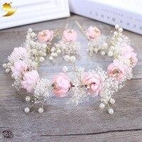 La mariée rose rose fleurs cheveux simulation Bob de noce étape photo ensemble Corée Du Sud bijoux