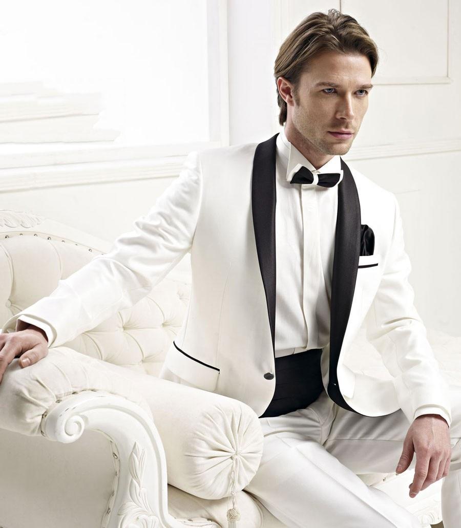 Custom Made Groomsmen Shawl Black Lapel Groom Tuxedos Ivory Mens Suits Wedding Best Man (Jacket+Pants+Tie+Girdle) B8230