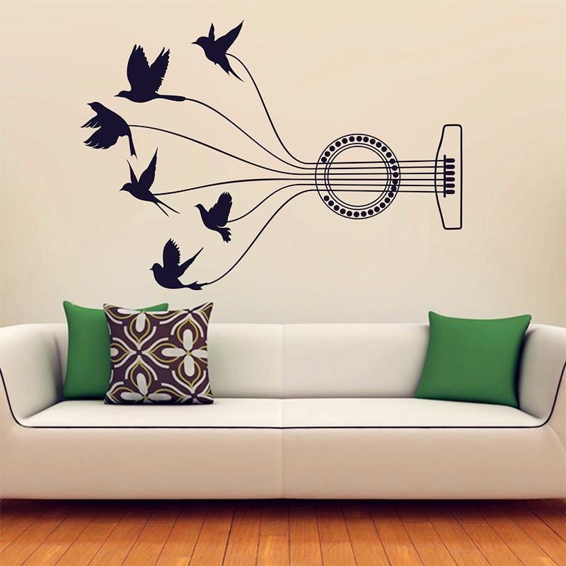 ᐂmusic travels wall decal vinyl music wall decal flying birds
