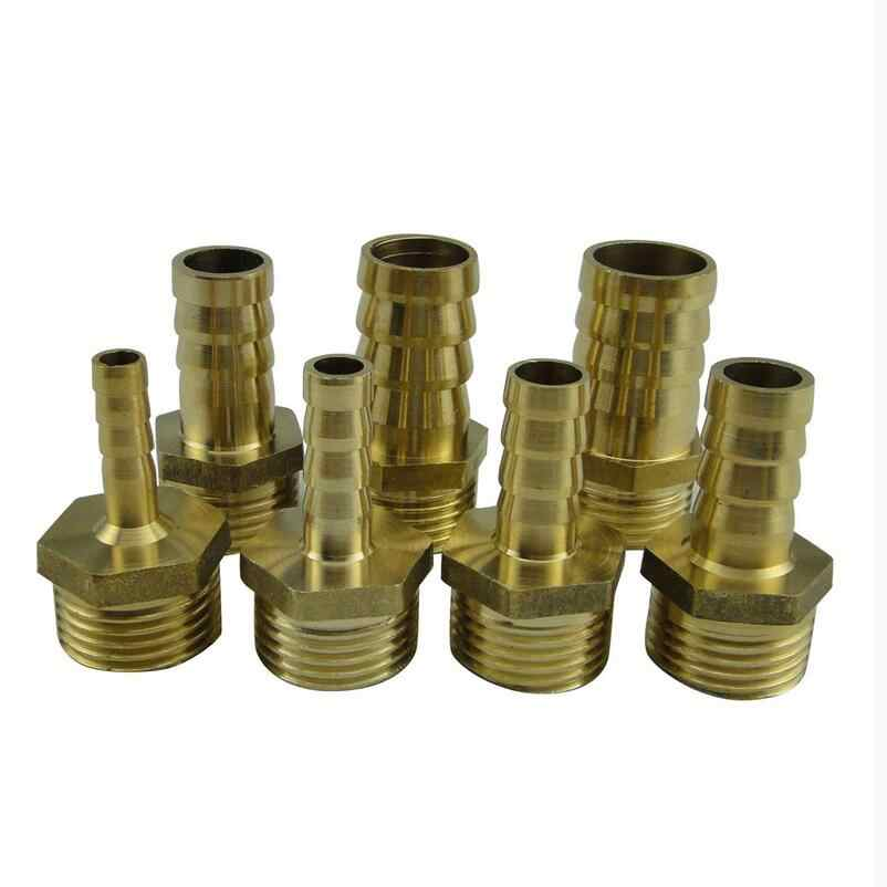 6mm to 1/4'' BSP Male Thread Copper Pagoda Joint Adapter PC6-02 Brass Pipe Connector Quick Plug for Gas Air Tube