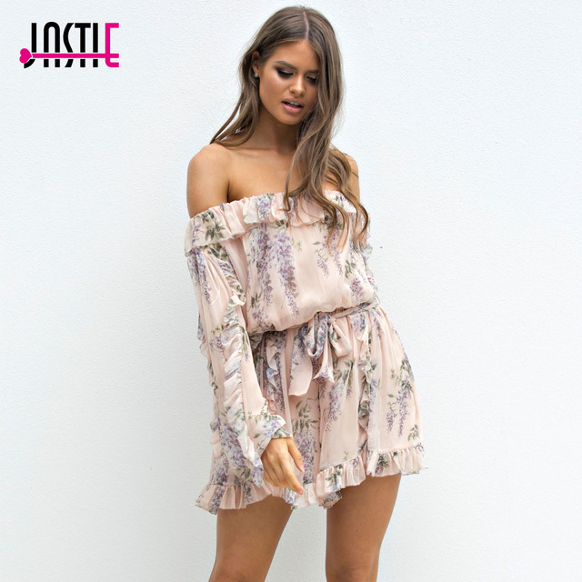 d1afc57a75992 Jastie Ruffled Off-Shoulder Playsuit Floral Print Women Romper 2018 Summer  Rompers Boho Chic Hippie Beach Playsuits Jumpsuit