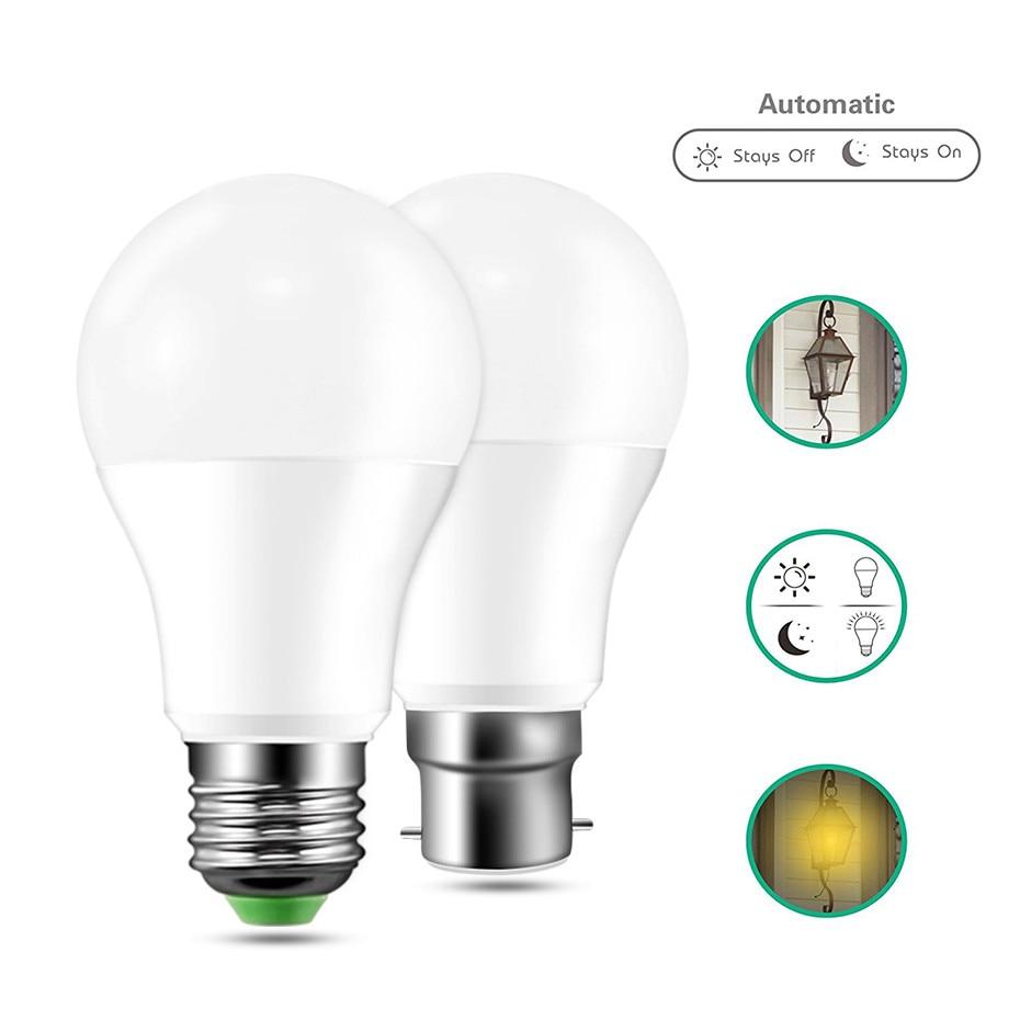 LED Bulbs E27 B22 AC110V 220v High quality Sensor spotlight Dusk to dawn light bulb Home Door Light Lamp Security Night bulb