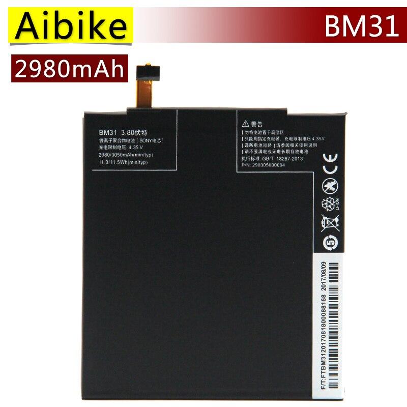 Aibike New original mobile phone battery BM31 For Xiaomi Mi3 Mi 3 Replacement Batteries 2980mAh rechargeable Battery