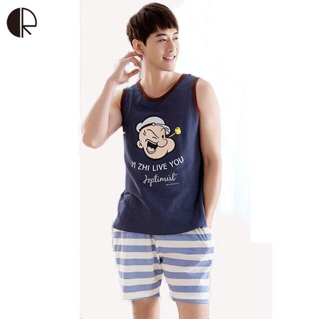 c8f950b1 2017 New Summer Sleepwear men Pajama Couple Knitted Cotton Suit Nightwear  Causal Lounge AP395 Free Shipping -in Pajama Sets from Men's Clothing & ...