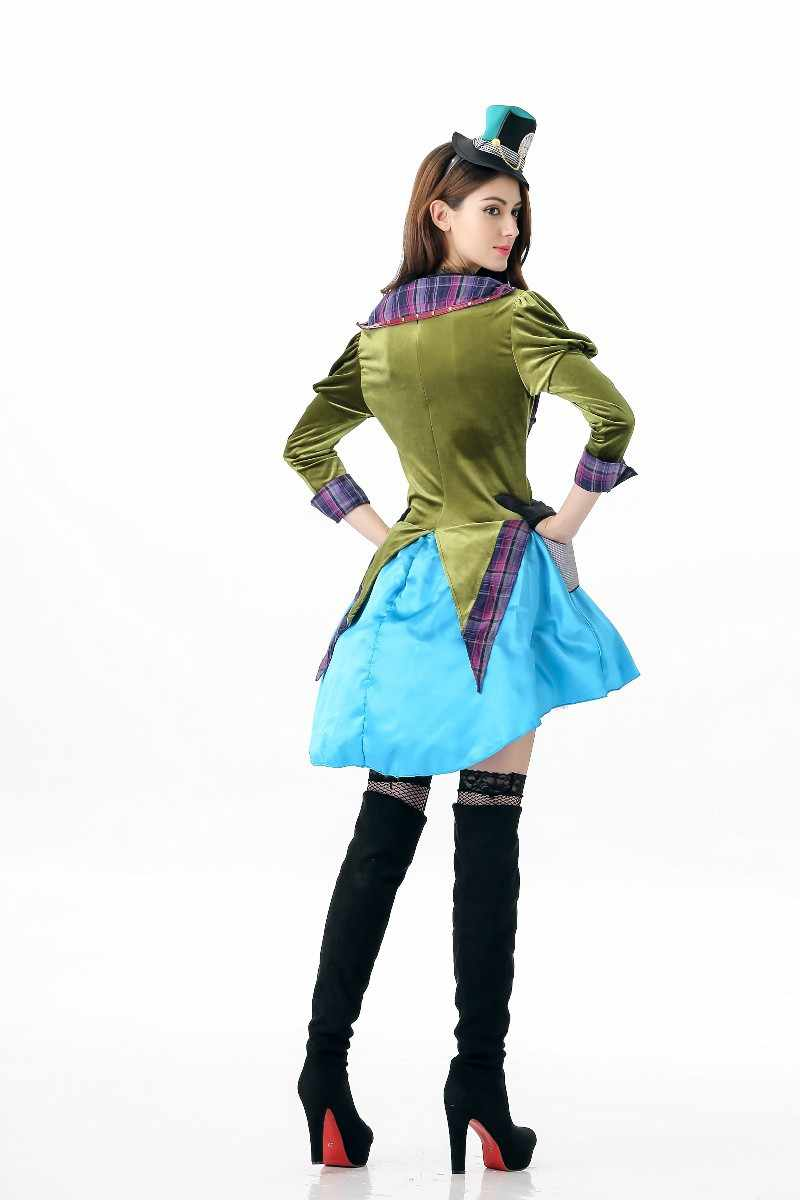 51135e1e3f Women Deluxe Alice in Wonderland Sexy Mad Hatter Costume Halloween Fantasia  Party Cosplay Fancy Dress
