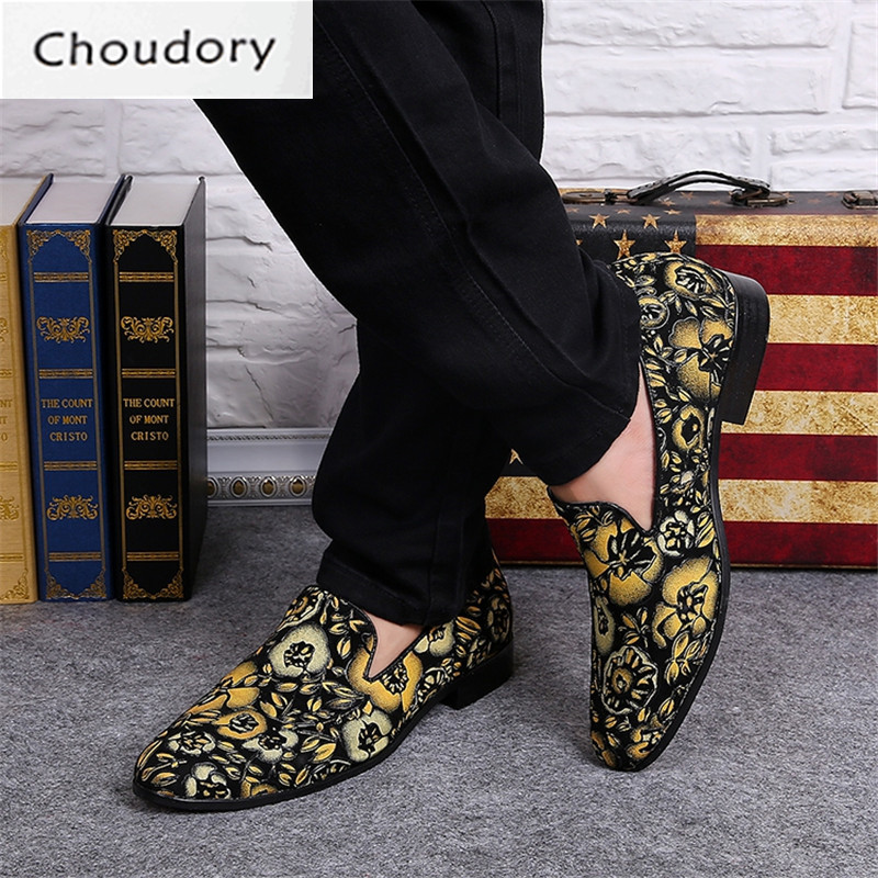 Choudory Leather Breathable Slip-On Paisley Print Men Shoes Casual Totem Pointed Toe Fashion Comfortable Spring Autumn Loafers