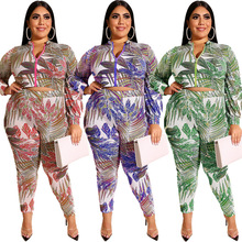 Plus-size womens printed zip-up long-sleeved jacket, tight trousers and fashionable casual suit