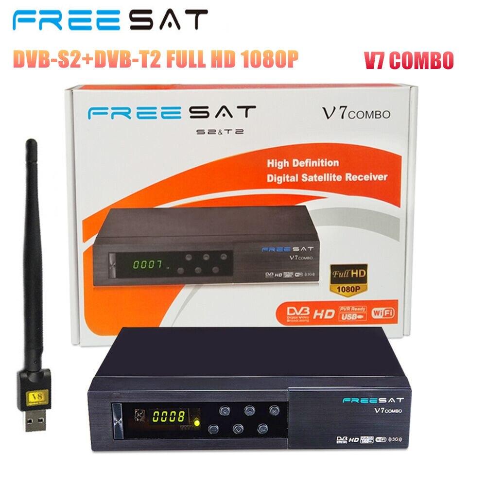 100% Original Freesat V7 Combo 1080P DVB-S2/T2 HD Diginal Satellite TV Receiver Supports Powervu, Cccam bisskey + 1pc USB WIFI