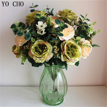 YO CHO Artificial flowers rose plastic flower head fake leaves silk Hibiscus bridal bouquet in a flask Wedding Deco