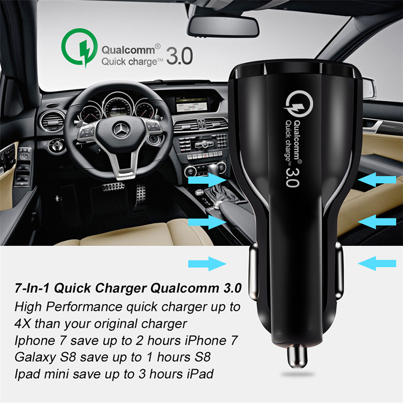Car USB Charger Quick Charge 3 0 2 0 Mobile Phone Chargers 2 Port USB For Iphone Xs Huawei P30 Samsung S10 Cable In Car Charging in Car Chargers from Cellphones Telecommunications