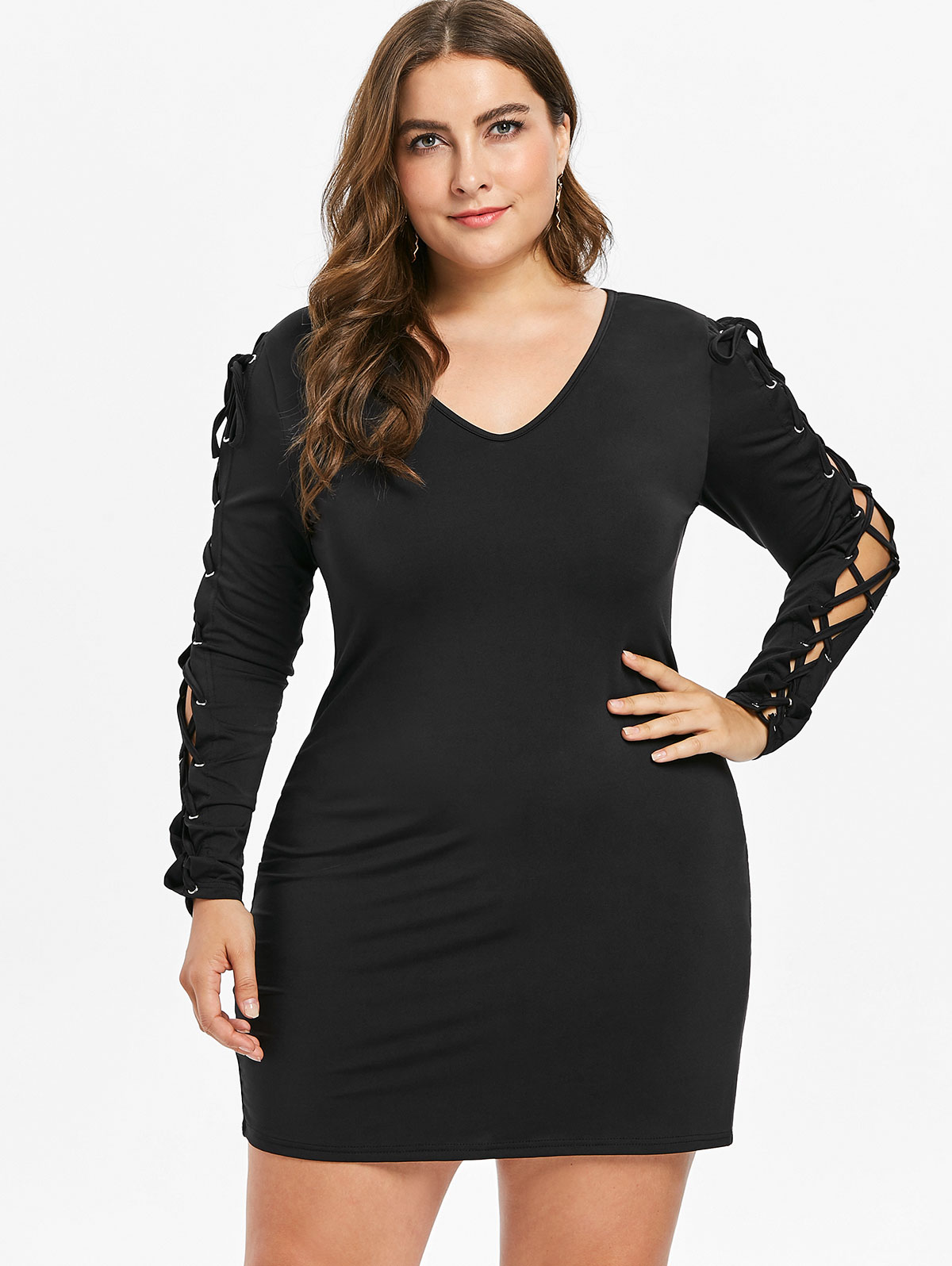 US $12.23 51% OFF|Wipalo Plus Size 5XL 4XL Lace Up Long Sleeve Bodycon  Dress Women Autumn V Neck Casual Mini Dress Party Dresses Vestidos Femme-in  ...