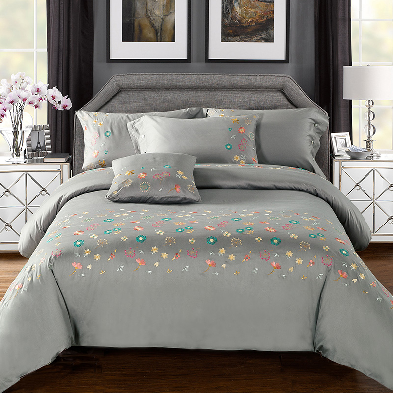 4pcs 100 cotton 60s satin fabric solid grey duvet cover set with colorful flowers embroidered