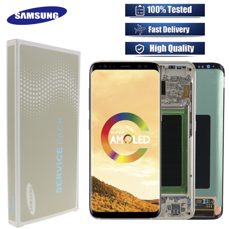 Original LCD For Samsung Galaxy S8  G950 G950F  Burn in Shadow Lcd Display With Touch Screen Digitize-in Mobile Phone LCD Screens from Cellphones & Telecommunications    1