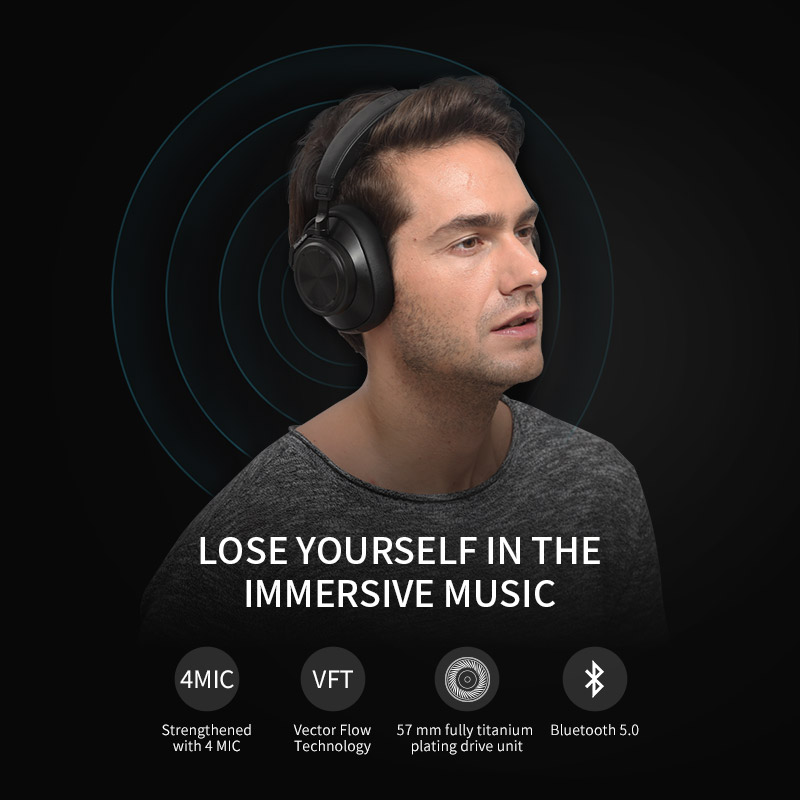 bluedio t6s wireless bluetooth headphones with noise cancelling for phones and voice control