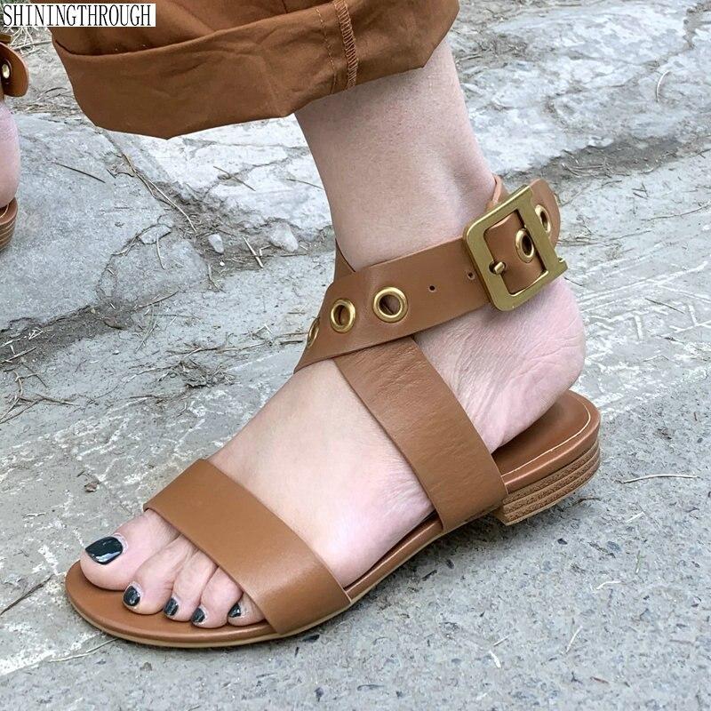 Women Sandals Genuine Leather flat Metal Decoration Casual Shoes Buckle Strap Rome Sandals Shoes Woman