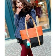 Women Shoulder Bag Leather Hit Color Zipped Casual Ladies Handbag Heart Splice Pendant Girls School Bags Big Capacity BS