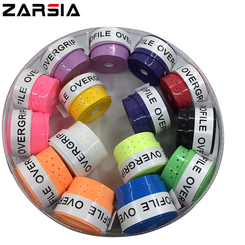 (Assorted color)60 pcs ProFile High quality Tennis Overgrip perforated sticky feel Tennis Rackets Grips Badminton Overgrip 60 pecs lot zarsia sticky viscous overgrip tennis grip regular badminton grip tennis overgrips tennis product