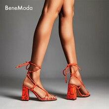 orange snake lace up summer fashion high heel sexy block heel ladies sandal цена 2017
