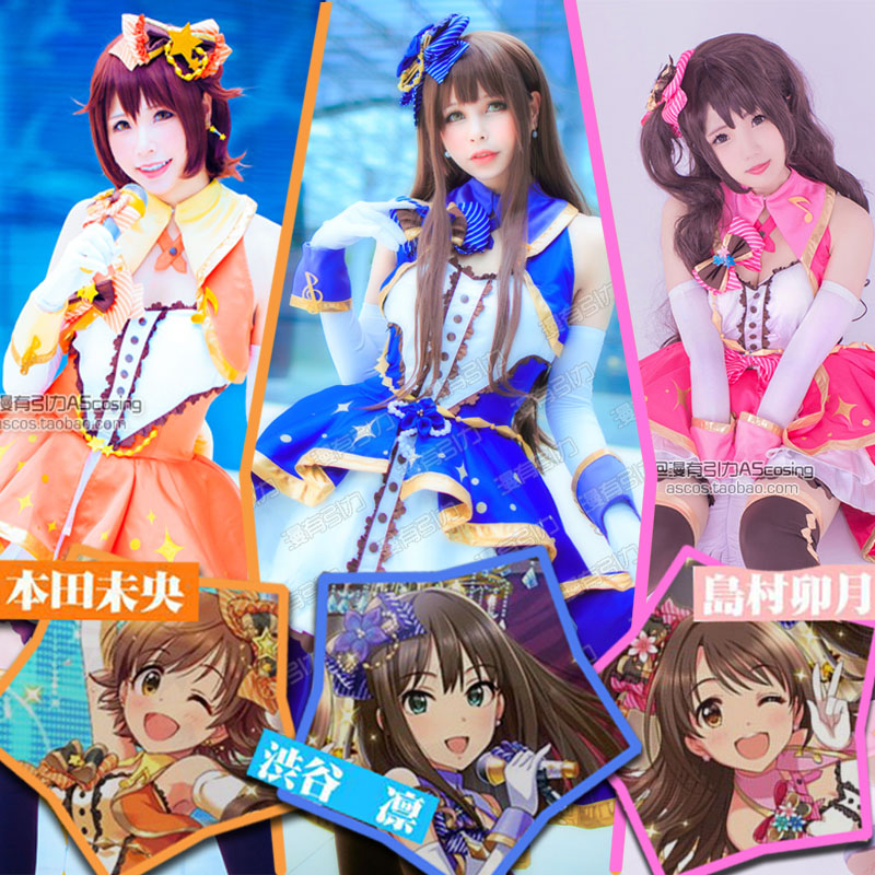 [STOCK] Collection!! THE iDOLM@STER Cinderella girls Uzuki Shibuya Rin Mio full set cosplay costume Sexy dress free s