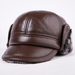 New Arrival 100% Genuine Leather Men Baseball Cap Hat CBD High Quality Mens Real Leather Adult Elderly Adjustable Hats B-7195