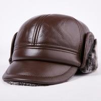 New Arrival 100% Genuine Leather Men Baseball Cap Hat CBD High Quality Men's Real Leather Adult Elderly Adjustable Hats B 7195