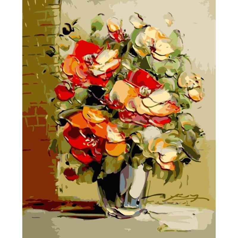 Eindruck Ziemlich Blume DIY Digitale Malerei Durch Zahlen Moderne Wand Kunst Leinwand Malerei Geschenk für kinder Home Decor 40x50 cm