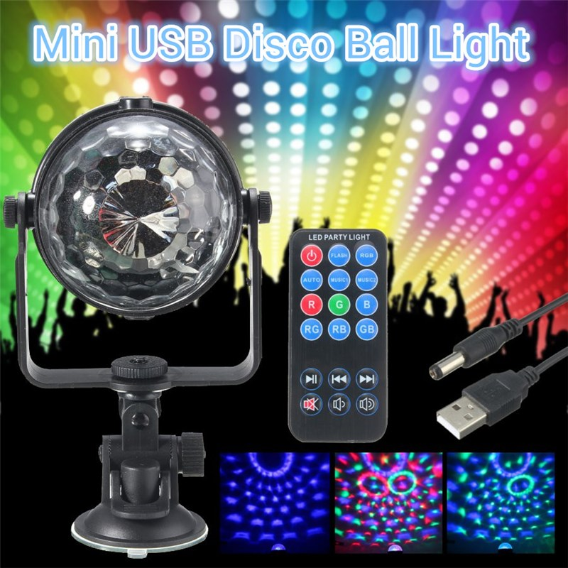 Mini RGB LED Stage Light 3W Remote Controls Light Disco Ball Lights LED Party Lamp Show Stage Lighting Effect USB Powered DV 5V mini rgb led crystal magic ball stage effect lighting lamp bulb party disco club dj light show lumiere