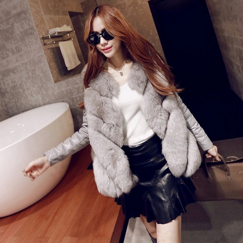2017 Women Winter Imitate Fox Faux Fur Coat ,PU Leather Outerwear Warm Jacket