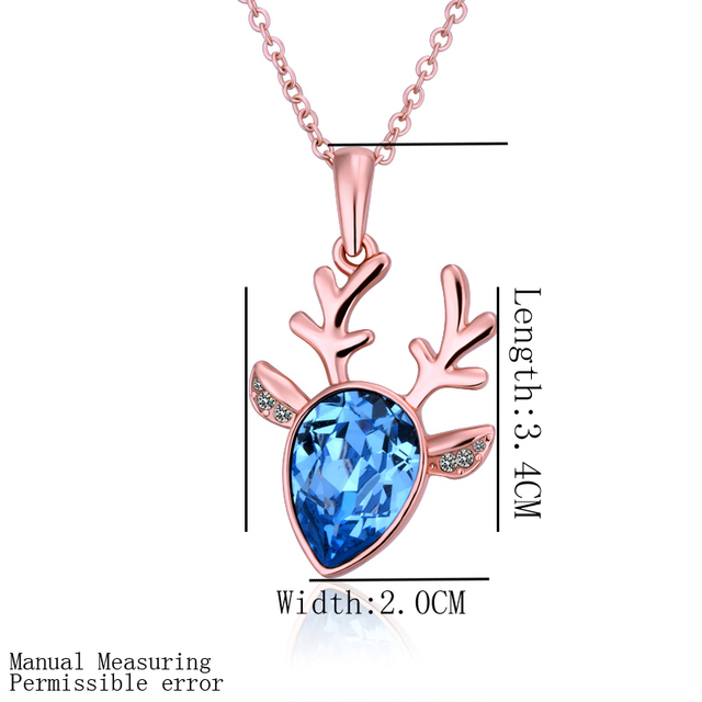 N513 18KGP Blue Gem Austria Crystal Jewelry 18K Gold Plated Necklace Nickel Free Rhinestone Crystal Pendant For Gift