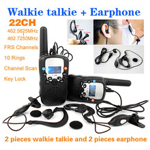 T-388 22 Channels Monitor Function 2 piece Mini Walkie Talkie Travel Two Way Radio Intercom + 2 piece Earphone and Retail box