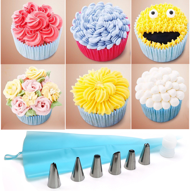2Set Piping Bag And Nozzles DIY Cake Decorating Tip Sets Silicone