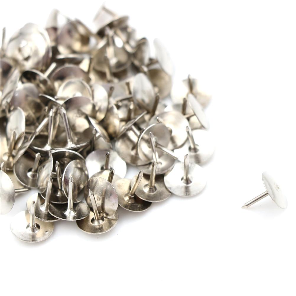 80Pcs/box Metal Push Pin Silver Tone Corkboard Photo Push Pins Thumb Tacks Stationery Standard Pin
