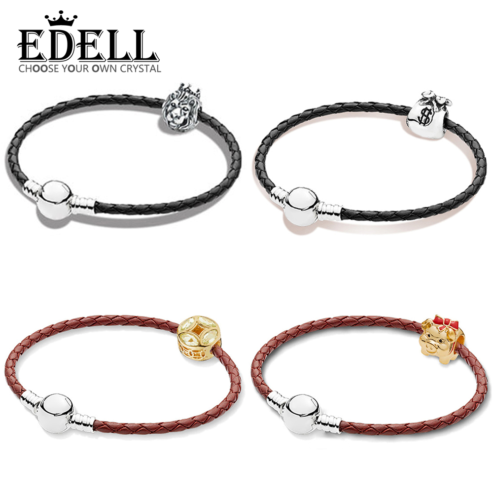 EDELL 100% 925 Sterling Silver 1:1 SHINE PIGGY BANK Good Fortune Coin Money Bag Lion Head  Beads Braided Leather Bracelet SetEDELL 100% 925 Sterling Silver 1:1 SHINE PIGGY BANK Good Fortune Coin Money Bag Lion Head  Beads Braided Leather Bracelet Set