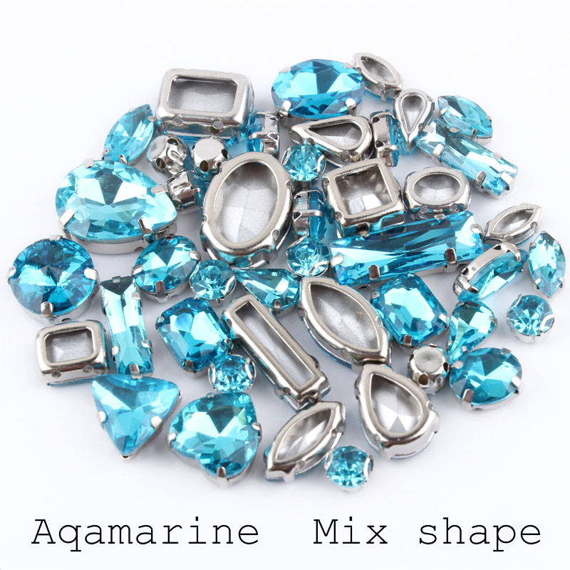 Classic style Mix Shapes 50pcs Aquamarine Glass Crystal Sew On K Silver Claw Rhinestones Crystal For Evening Dress Or Shoes