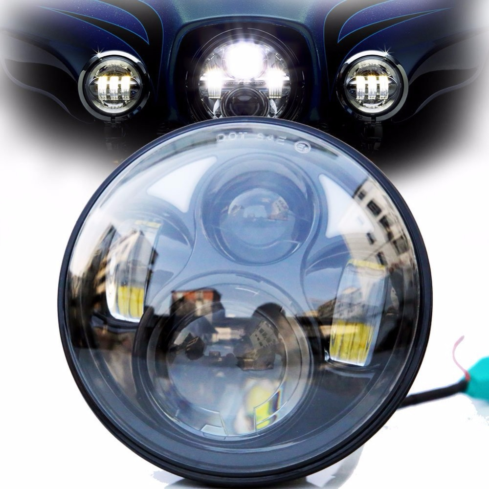 ФОТО Only sell in USA ,DOT SAE EMARK approved 5-3/4 Inch 45W Daymaker Projector LED Headlight for Harley Davidson Motorcycles