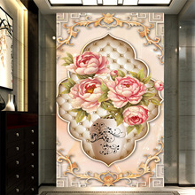 Customized Europe luxury wallpaper royal aristocratic peony flower painting mural for living room vestibule corridor