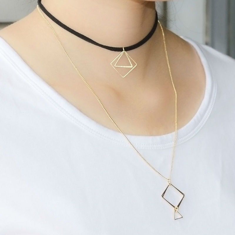 2016 New Trendy Leather And Thin Gold color Double Chain Choker