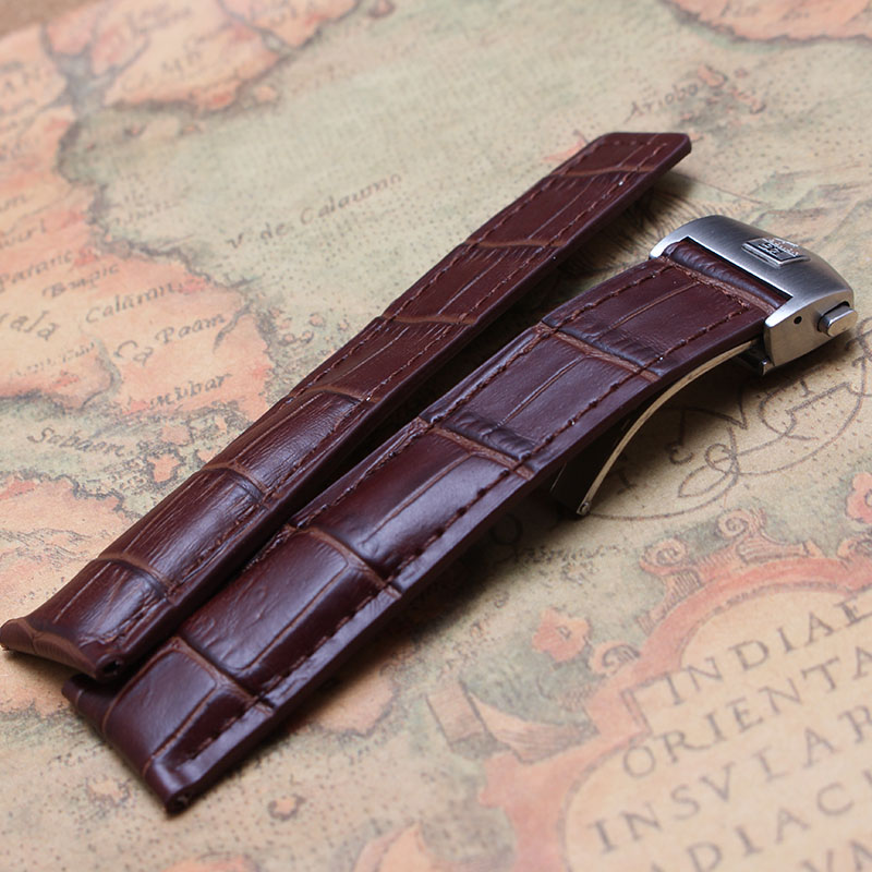 20mm 22mm High quality Watchband for luxury watches mens hours Brown Cowhide Leather Watch straps bracelet