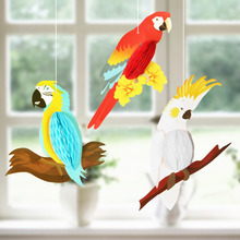 3 Eye-catching Rainbow Hanging Honeycomb Parrots Decor Kids Birthday Baby Nursery Classroom BEACH POOL LUAU Tropical PARTY Decor