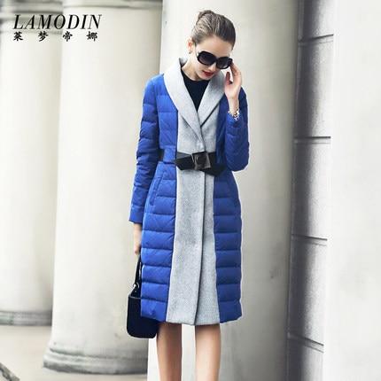 2016 new hot winter Thicken Warm woman Down jacket Coat Parkas Outerwear Splice Slim Luxury long plus size XL Hit color