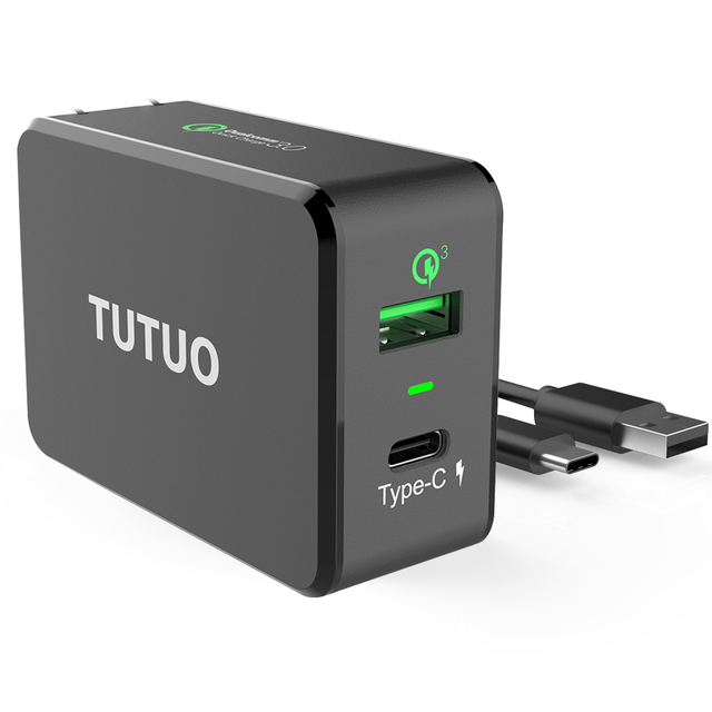 TUTUO Quick Charge 3.0 USB Fast Charger +Type-c Travel 2 Ports 33W Wall Smart Charger US EU Plug for Xiaomi iPhone 7 Power Bank
