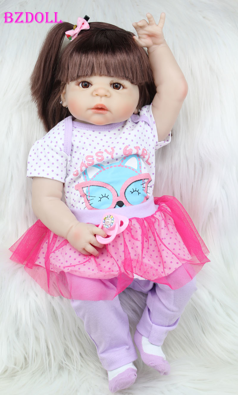 55cm Full Body Silicone Reborn Baby Doll Girl Lifelike 22inch Newborn Babies Waterproof Bath Toy Doll