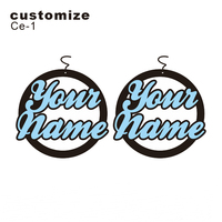Personalised Round Name Earrings Laser Cut Acrylic Jewelry