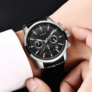 Image 5 - 2020新作メンズウォッチligeトップブランドの高級レザーカジュアルクォーツ腕時計メンズスポーツ防水時計黒腕時計レロジオmasculino