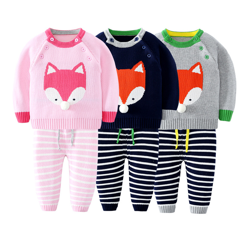 Autumn winter Kids Stripe fox Children Sets Sweater Pant For Baby Boys Girls Tiny Cotton cartoon Sweater Knit Shirts autumn winter girls children sets clothing long sleeve o neck pullover cartoon dog sweater short pant suit sets for cute girls