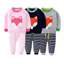 Autumn winter Kids Stripe fox Children Sets Sweater Pant For Baby Boys Girls Tiny Cotton cartoon Sweater Knit Shirts