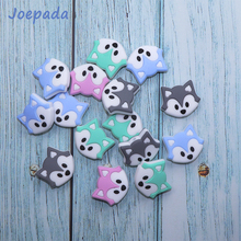 Joepada 10Pcs/lot Fox Silicone Beads Cartoon Baby Teething BPA Free DIY Necklace Teether Accessories
