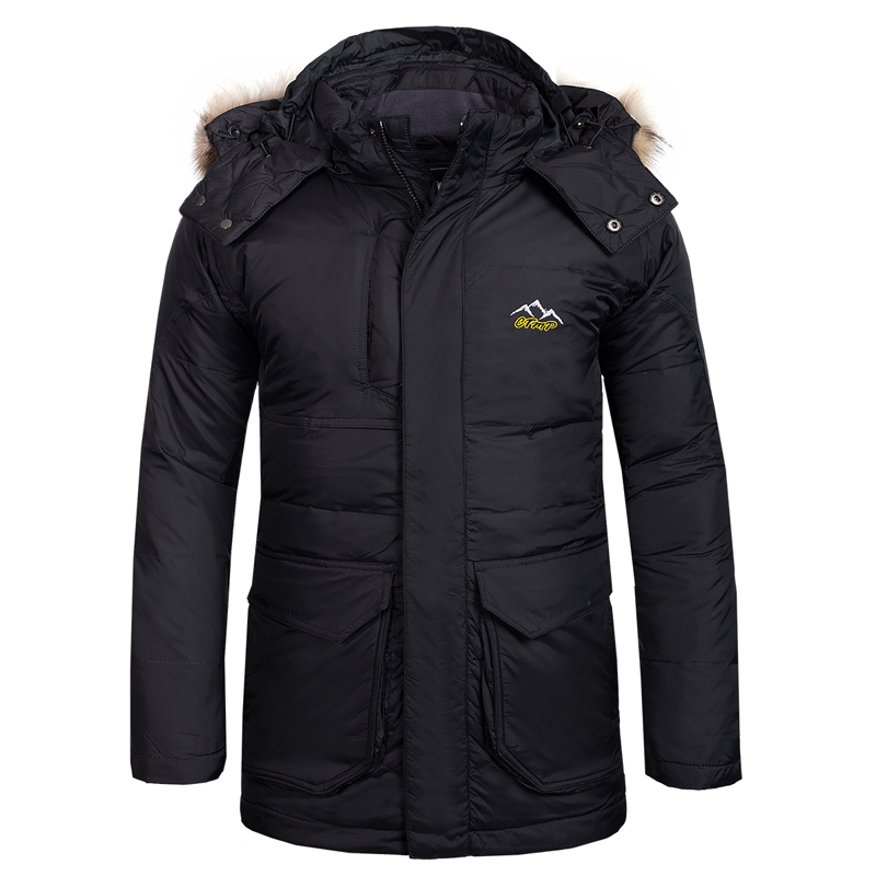 New Fake Fur Outdoor Hiking Ski Duck Down Winter Jacket Men Windbrekaer Water Resistant Camping Trekking Down Coat Warm Outwear hot sale windstopper water resistant coat 2in1 hiking winter jacket women outdoor veste breathable camping chaquetas mujer